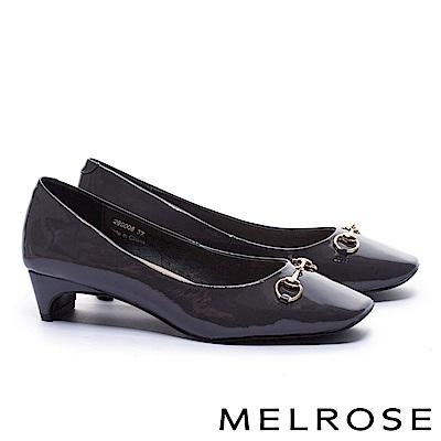 高跟鞋 MELROSE 復古雅緻百搭軟漆皮方頭高跟鞋-灰