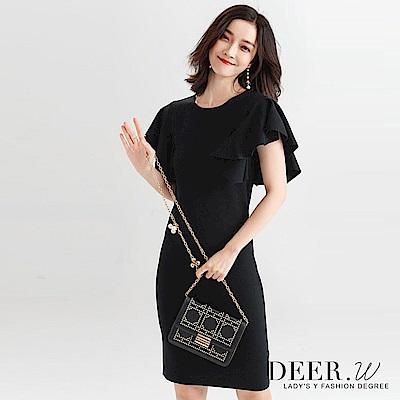 DEER.W 立體荷葉袖修身針織洋裝(黑色)