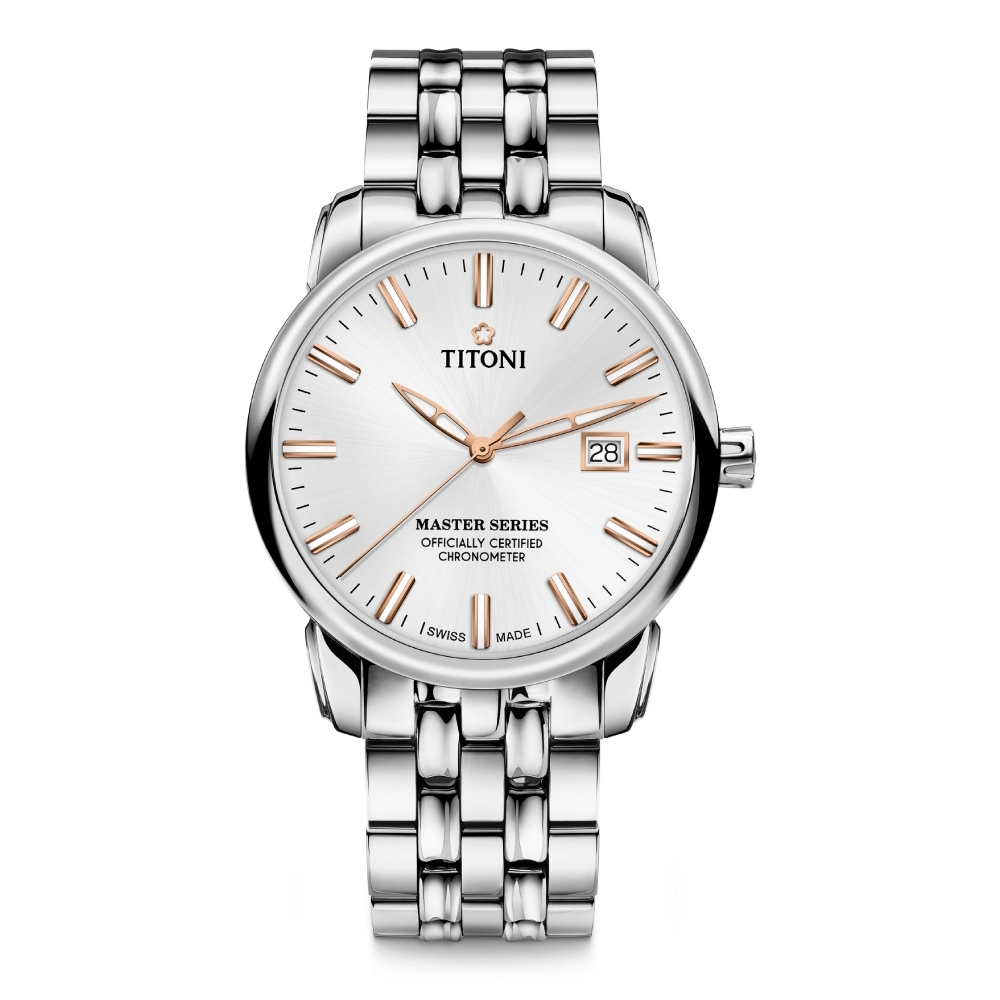 TITONI瑞士梅花錶 大師系列天文台認證機械錶(83188 S-575R)-銀面鋼帶/41mm