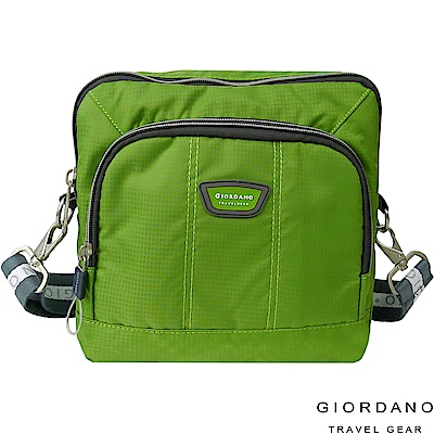 GIORDANO 佐丹奴格休閒格紋雙色斜側背包(綠)