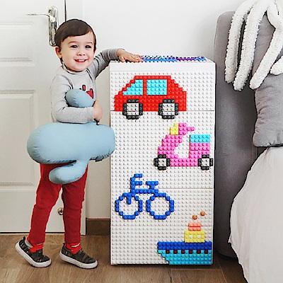 【魔法腳印】童趣益智積木拼圖五層玩具收納櫃-大眾交通工具