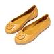 Tory Burch Minnie Travel 經典皮革LOGO鬆緊平底娃娃鞋(芥末黃) product thumbnail 1
