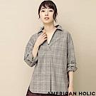 AMERICAN HOLIC V領格紋/素面長袖襯衫