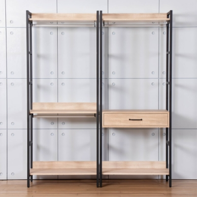 D&T德泰傢俱 格萊斯原切木工業風5.2尺中抽+雙吊多功能衣櫃-160x44x196cm