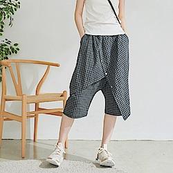 慢 生活 設計師交叉擋布寬口褲- 灰格/綠