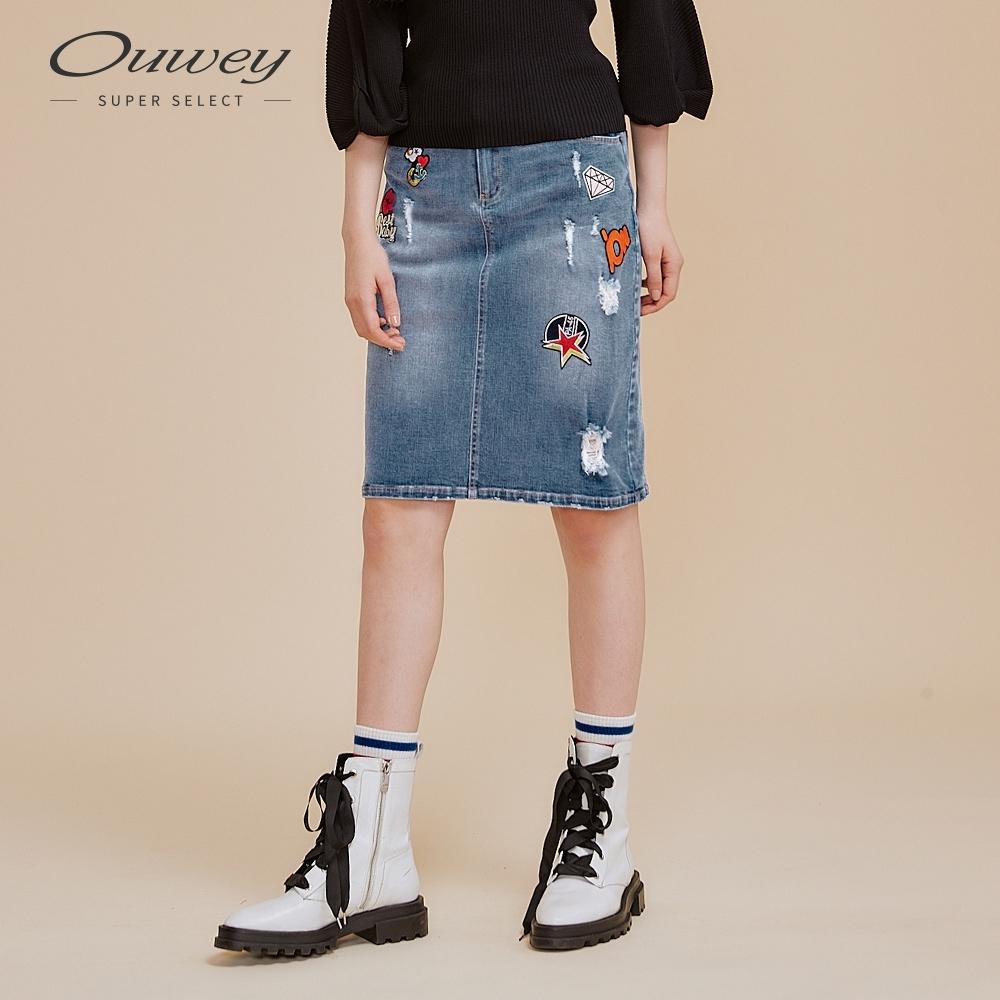 OUWEY歐薇 童趣貼布繡刷破丹寧窄裙(藍)