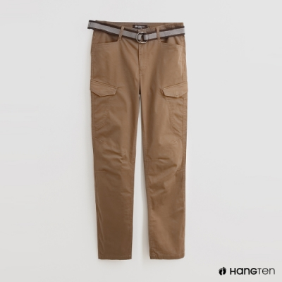 Hang Ten - 男裝 - 附腰帶時尚風造型長褲 - 卡其