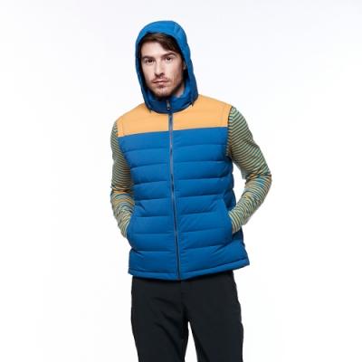 【HAKERS 哈克士】男款 羽絨背心(灰藍/桔黃色)