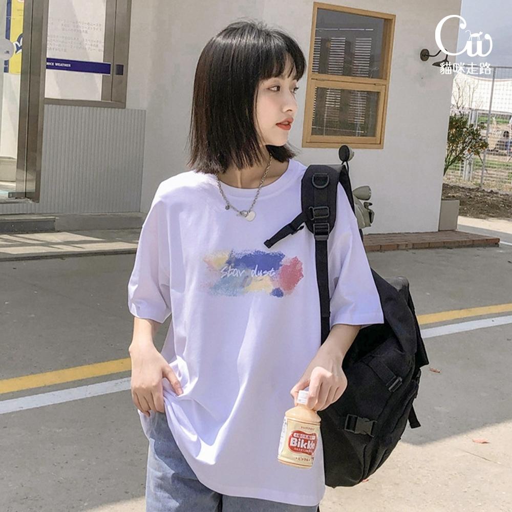 [CW.貓咪走路]韓版彩繪設計星塵印花T恤(KDT-11036)