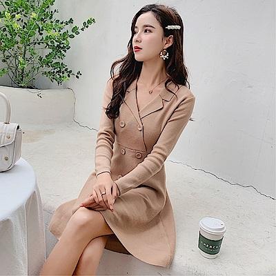DABI 韓國風優雅氣質針織高腰小香風長袖洋裝