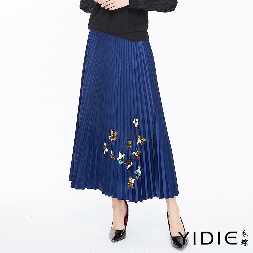 YIDIE衣蝶 金屬光澤絲絨亮片百摺長裙-寶藍