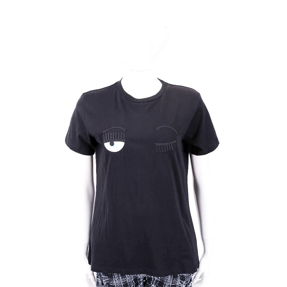Chiara Ferragni Flirting 刺繡眨眼黑色棉質短T恤