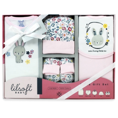 美國Elegant kids-碎花小兔兔5件式彌月禮盒