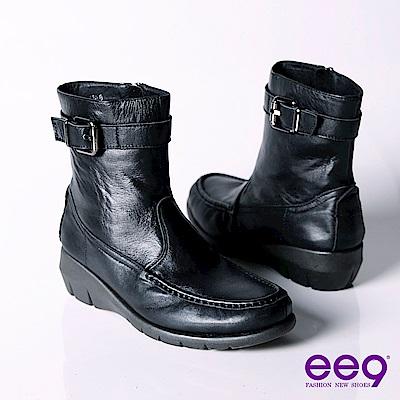 ee9 個性甜心帥氣極簡工程機車短筒靴~聚焦黑