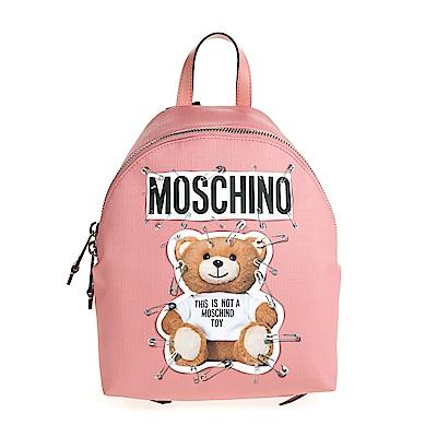 MOSCHINO 新款別針泰迪熊圖案防水皮革手提/後背包 (蜜桃粉)