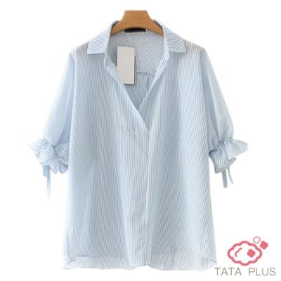 寬鬆袖綁帶上衣 共二色 TATA PLUS-(L~2XL)