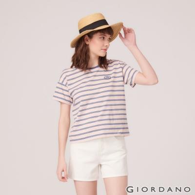 GIORDANO 女裝復古風格印花短袖寬版T恤-35 蝦餃粉/皎雪/古董靛藍/酷藍