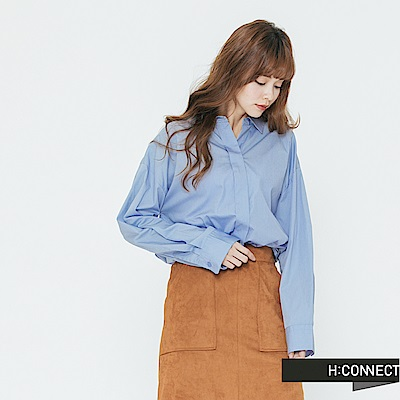 H:CONNECT 韓國品牌 女裝-簡約抓皺素面襯衫-藍