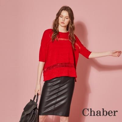 Chaber巧帛 顯白襯膚透視針織造型上衣-嘉年華紅