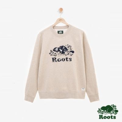 男裝ROOTS 大自然印花刷毛圓領上衣-粉色