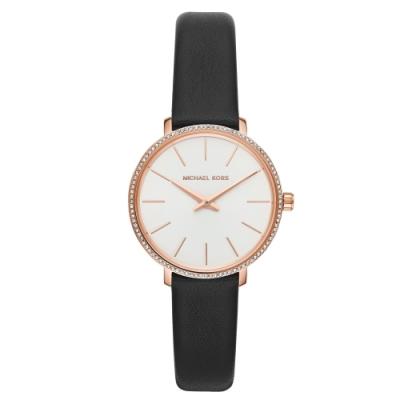 MICHAEL KORS簡約亮鑽風采真皮腕錶/MK2835