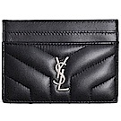 YSL Monogram 銀色Logo 小牛皮V字縫線卡片夾(黑色)