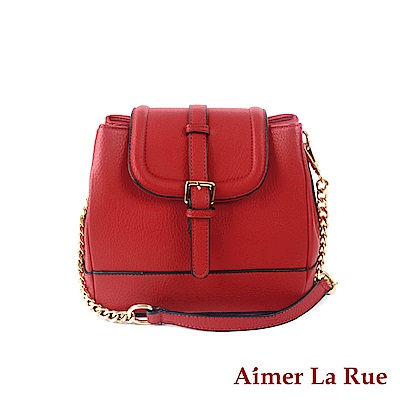 Aimer La Rue 側背包 歐美潮流真皮鍊條(紅色)