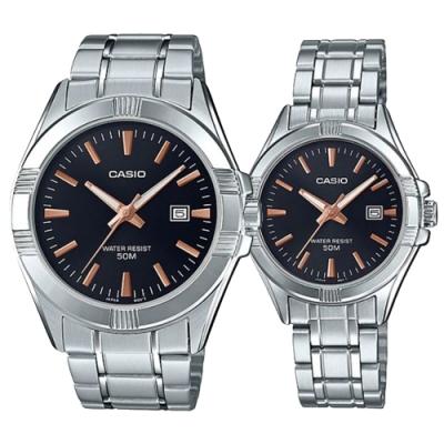 CASIO 簡約玫瑰金時刻不鏽鋼對錶(MTP-1308D-1A2+LTP-1308D-1A2)