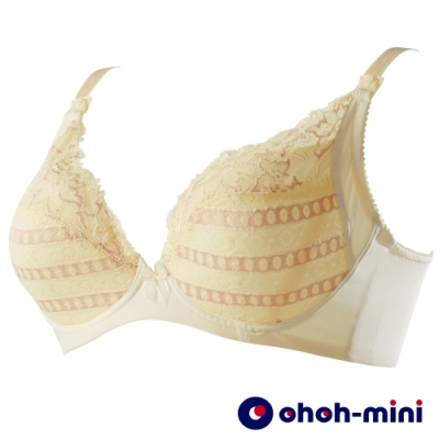ohoh-mini 歐歐咪妮-V溝影雙色蕾絲哺乳內衣-黃