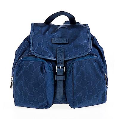 GUCCI 經典GG 印花輕尼龍布雙口袋後背包 (藍色)