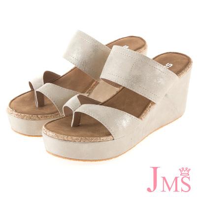 JMS-簡約休閒寬帶夾腳楔型涼拖鞋-金色