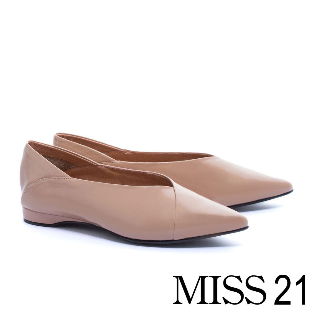 平底鞋 MISS 21 拼接質感全真皮素色平底鞋-粉