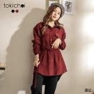 東京著衣 率性絨布質感綁帶襯衫外套上衣(共二色)