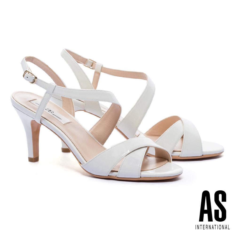 涼鞋 AS 時尚性感繞帶牛軟漆皮高跟涼鞋-白