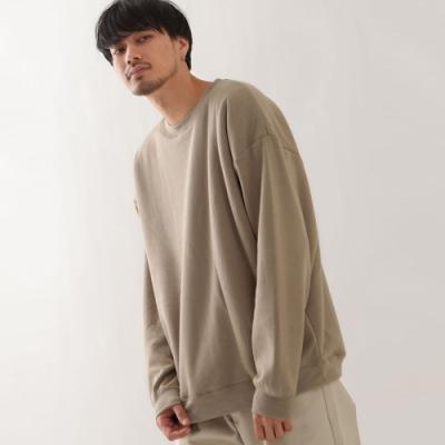 寬版長袖運動衫內刷毛長袖上衣素色(6色) -ZIP日本男裝