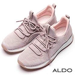 ALDO 原色針織彈性網眼布綁帶式厚底休閒鞋~清新亮粉