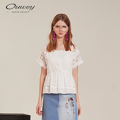 OUWEY歐薇 清新蕾絲兩件式連袖上衣(白)