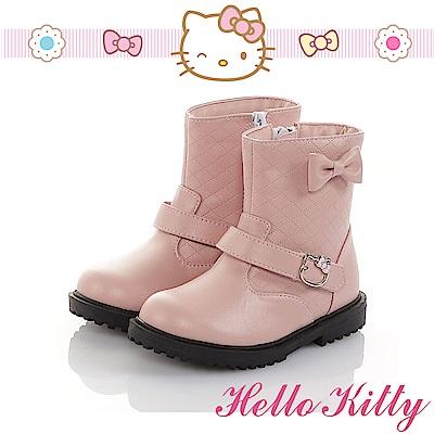 HelloKitty 傳統手工鞋氣質蝴蝶結高級超纖皮革防滑童靴-粉