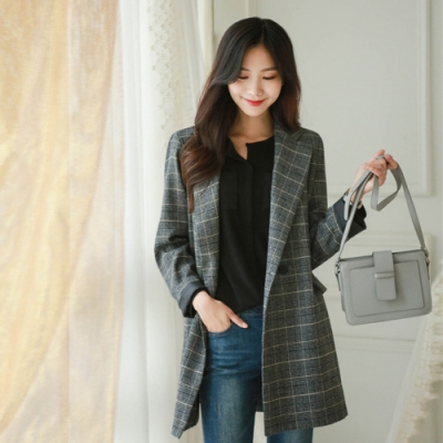 2F韓衣-韓系翻領長版格紋西裝外套