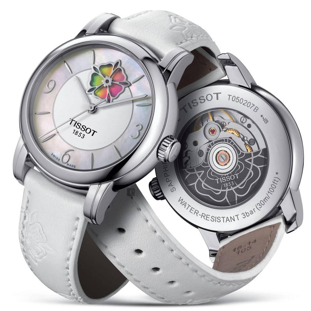 TISSOT 天梭 Lady Heart 花朵鏤空機械女錶-珍珠貝x白/36mm