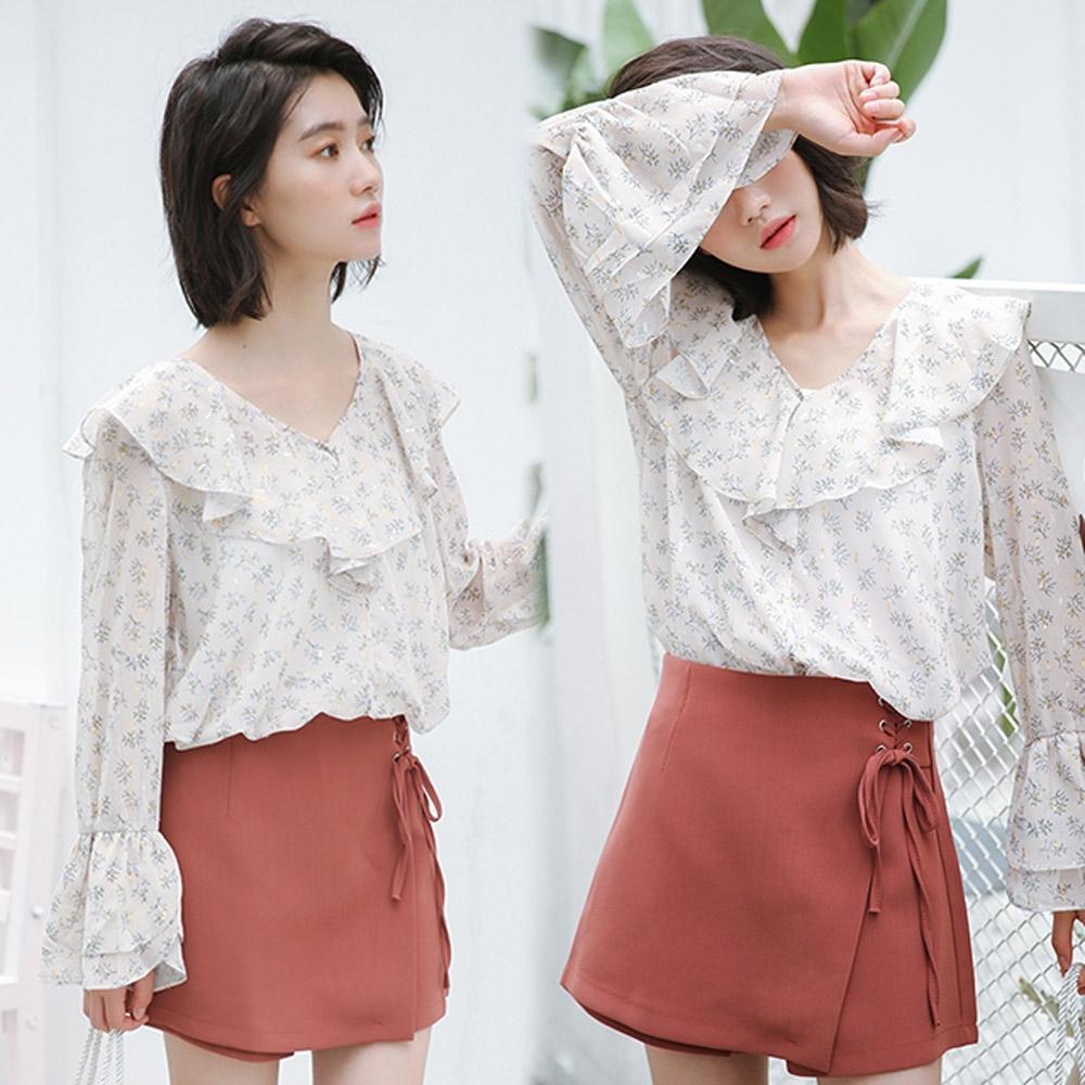 【韓國K.W.】(預購)獨賣獨特個性素色綁帶褲裙-1色