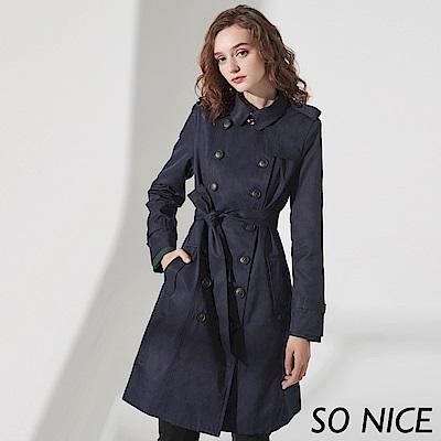 SO NICE經典雙排釦中長版風衣