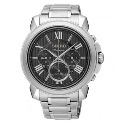 SEIKO 精工Premier 紳仕太陽能腕錶-灰黑SSC597J1/V175-0EH0D