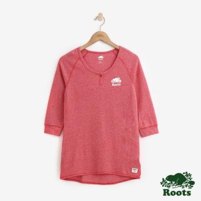 ROOTS女裝 V開領長袖T恤 -紅