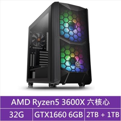 (無卡分期12期)華碩X570平台[馭神暴君]R5六核GTX1660獨顯電玩機