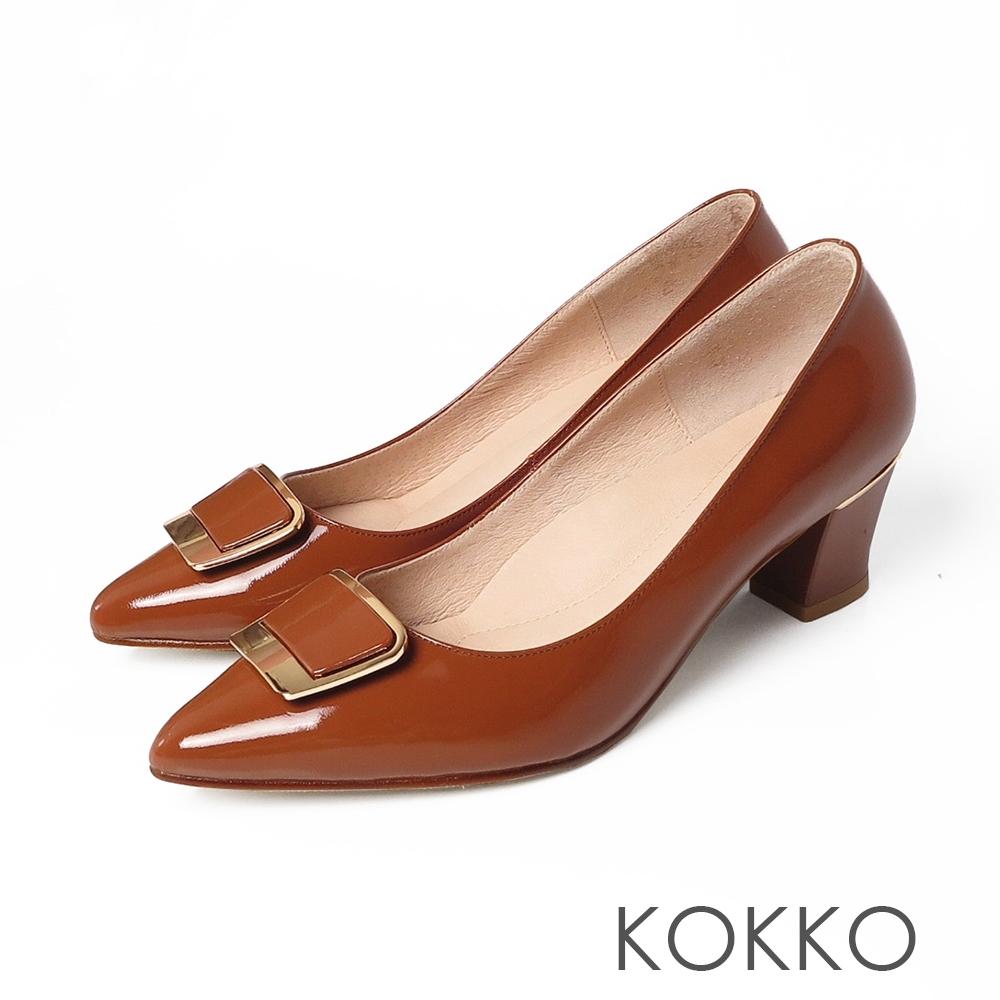 KOKKO致親愛的妳經典方扣尖頭粗跟鞋橘紅傍晚