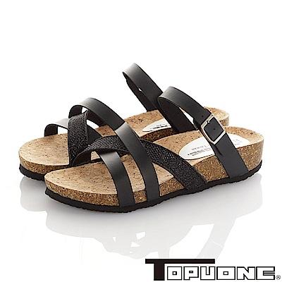TOPU ONE 素雅輕量減壓吸震腳床型涼鞋童鞋-黑