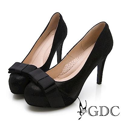 GDC-羊皮蝴蝶結氣質甜美混蕾絲高跟鞋-黑色
