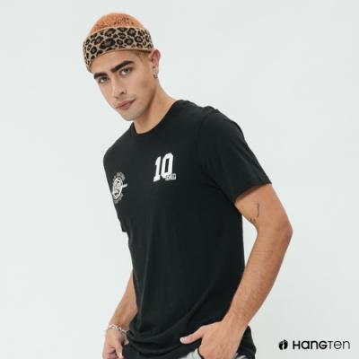 Hang Ten - 男裝 - 有機棉-簡約配色數字logo棉T - 黑