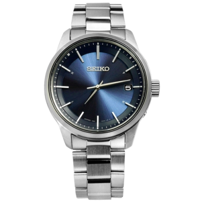 SEIKO 精工 SPIRIT 電波修正 太陽能 藍寶石水晶 不鏽鋼手錶-藍色/40mm